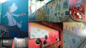 A collage of the wall murals at MAS