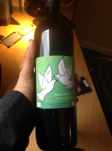 The wine bottle we brought home from the wedding