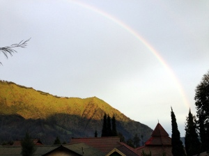 The beautiful rainbow that we spotted that evening.